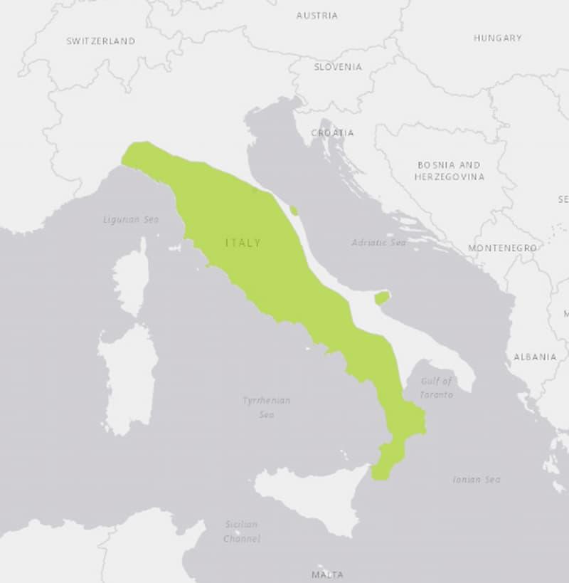 Rana italica distribuzione