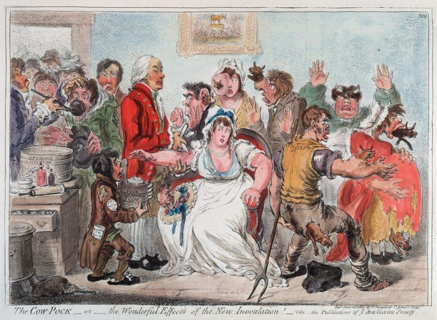 Illustrazione satirica contro i vaccini Jenneriano