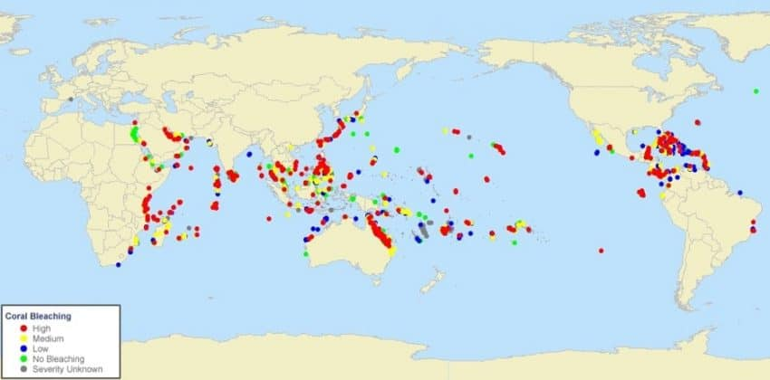 Mappa degli eventi di sbiancamento registrati dal 1984 al 2011