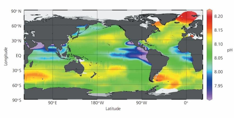 Mappa dei valori di pH della superficie degli oceani nel 1994