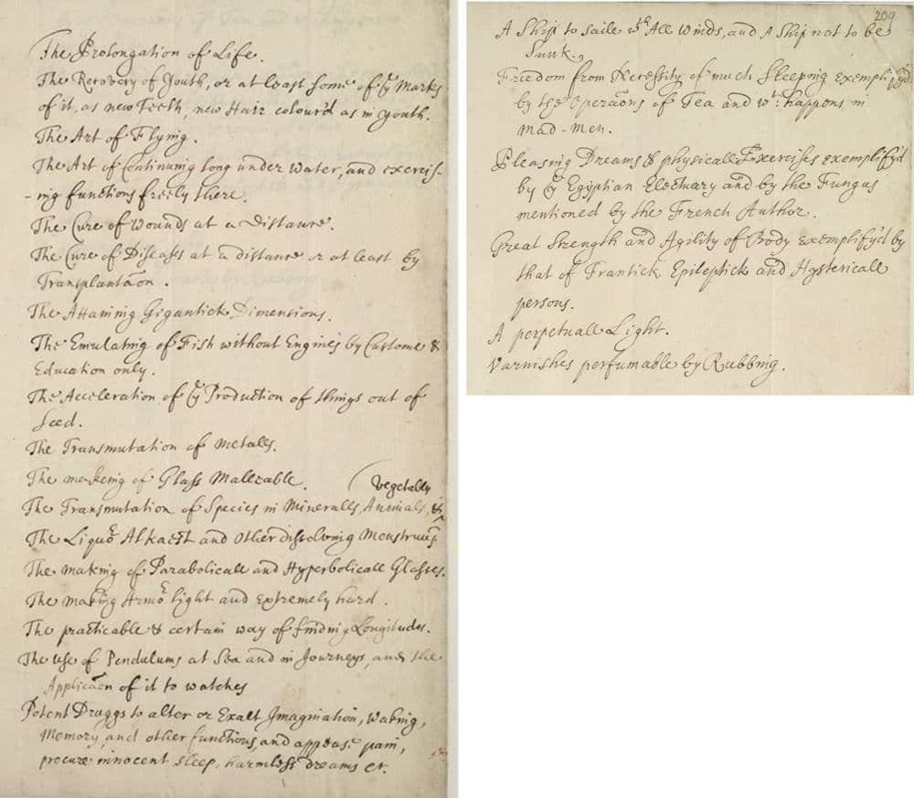 Lista di innovazioni e scoperte scientifiche sognate da Robert Boyle