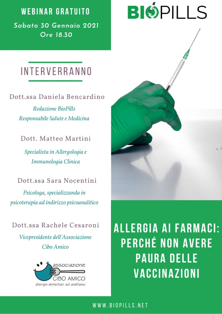 locandina webinar allergia farmaci